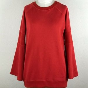 KENNETH COLE Patriot Red Bell Sleeves Sweatshirt S